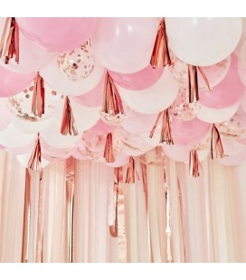 Bush, White and Rose Gold Ceiling Balloons with Tassels