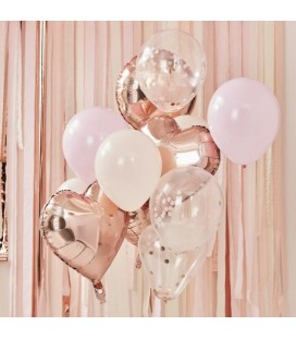Bouquet de Ballons Blush et Rose Gold