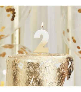 Gold Ombre Number 2 Candle