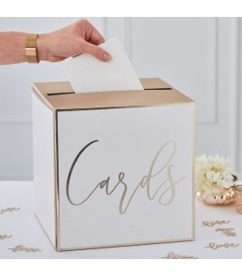 "Gold Wedding Post Box ""Cards"""