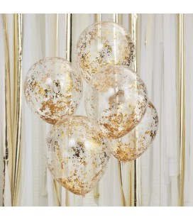 5 Gold Shredded Confetti Balloons