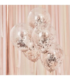 5 Rose Gold Shredded Confetti Balloons