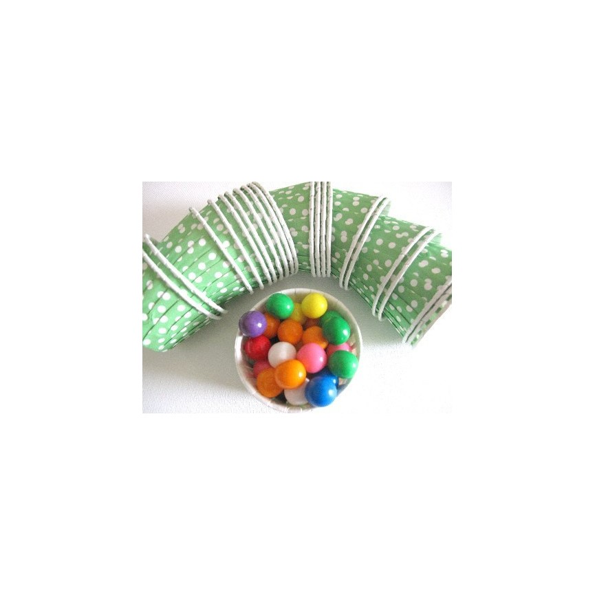 25 Green Polka Dots Candy Cups