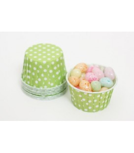 25 Lime Polka Dots Candy Cups