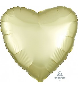 Pastel Yellow Heart Satin Luxe Foil Balloon