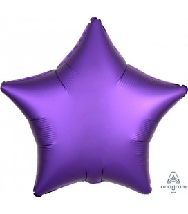 Purple Royal Star Satin Luxe Foil Balloon