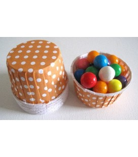 25 Candy Cups Orange mit Punkten