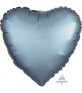 Heart Steel Blue Satin Luxe Foil Balloon