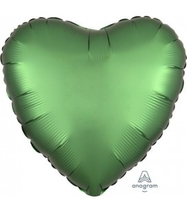 Heart Emerald Green Satin Luxe Foil Balloon