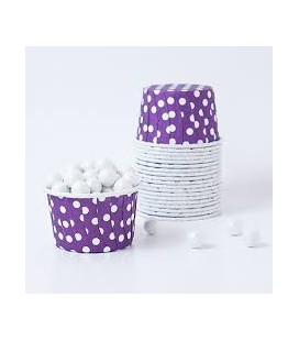 25 Candy Cups Lila mit Punkten