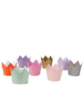 8 Mini Glitter Crown Party Hats