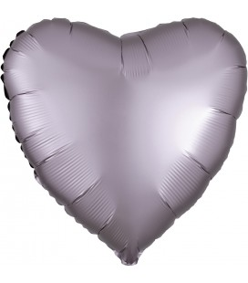 Greige Heart Satin Luxe Foil Balloon