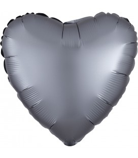 Graphite Heart Satin Luxe Foil Balloon