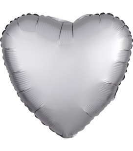 Platinum Heart Satin Luxe Foil Balloon