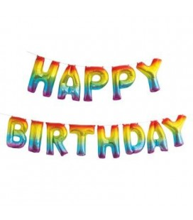 Rainbow Happy Birthday Letters Mylar Balloons
