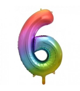 Rainbow Foil Ballon Number 6
