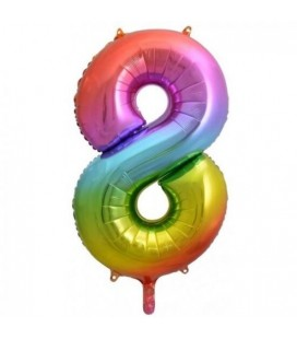 Rainbow Foil Ballon Number 8
