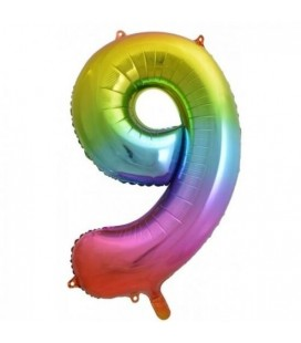 Rainbow Foil Ballon Number 9