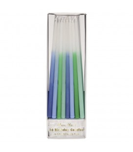 16 Blue Ombre Candles