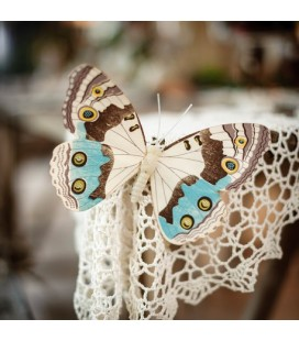 2 Wooden Butterflies Taupe/Blue