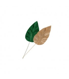 2 Magnolia Leaves Gold Glitter & Velvet Green L