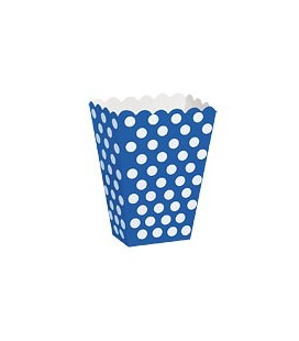 8 Royal Blue Polka Dots Treat Boxes