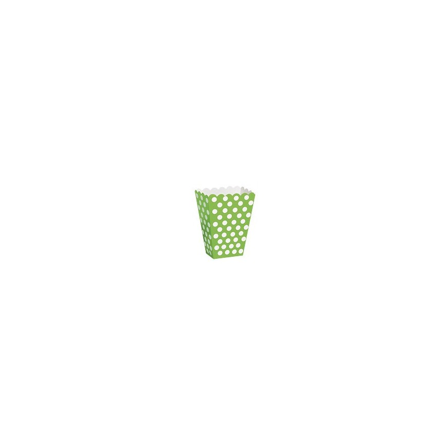 8 Lime Polka Dots Treat Boxes