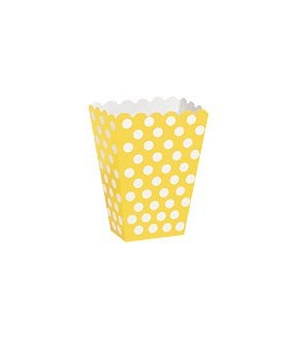 8 Yellow Polka Dots Treat Boxes