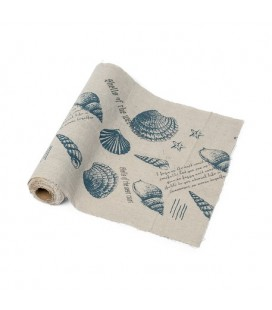 Blue Seashells Linen Table Runner