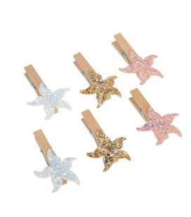 6 Glittered Starfish Clips