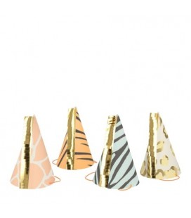 8 Party hats with Savannah Animal motifs