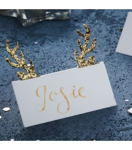 Gold Glitter Antler Place Cards