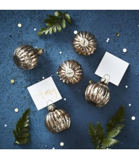 Gold Christmas Bauble Place Card Holder