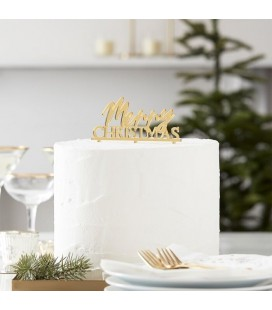Gold Merry Christmas Acrylic Cake Topper