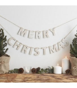 Rustic Wooden Merry Christmas Bunting