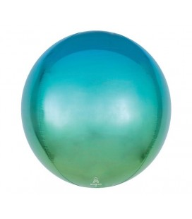 Ombré Blue & Green Sphere Orbz Foil Balloon