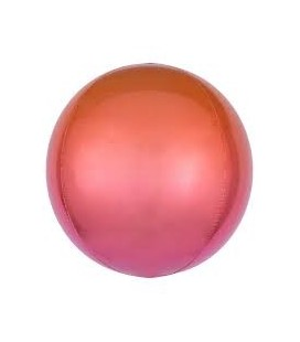 Ombré Red & Orange Sphere Orbz Foil Balloon