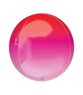 Ombré Red & Pink Sphere Orbz Foil Balloon