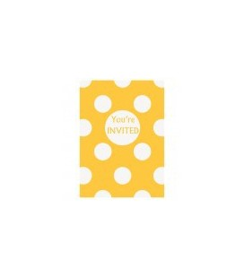 Yellow Polka Dots Invitations