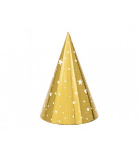 6 Gold & Stars Party Hats