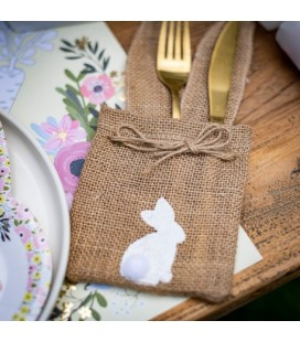 1 Bunny Burlap Bag with Pompom