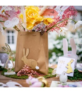 1 Bunny Kraft Bag with Gold Bunny and Pompom