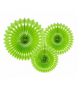 3 Apple Green Paper Fans
