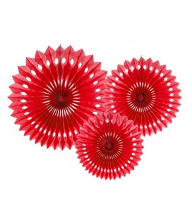 3 Red Paper Fans