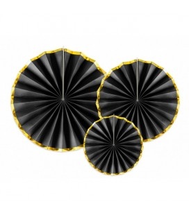 3 Black & Gold Paper Rosettes