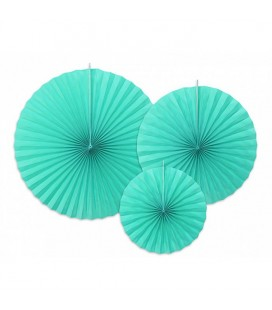 3 Tiffany Blue Paper Rosettes