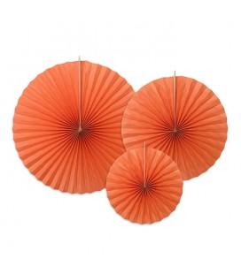 3 Brick Orange Paper Rosettes