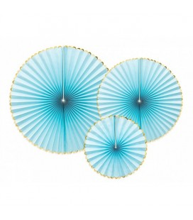 3 Yummy Blue Paper Rosettes