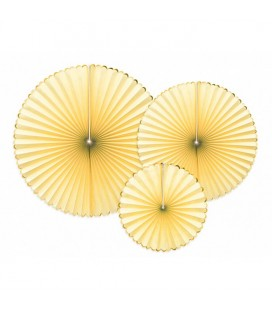 3 Yummy Yellow Paper Rosettes