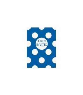 Royal Blue Polka Dots Invitations